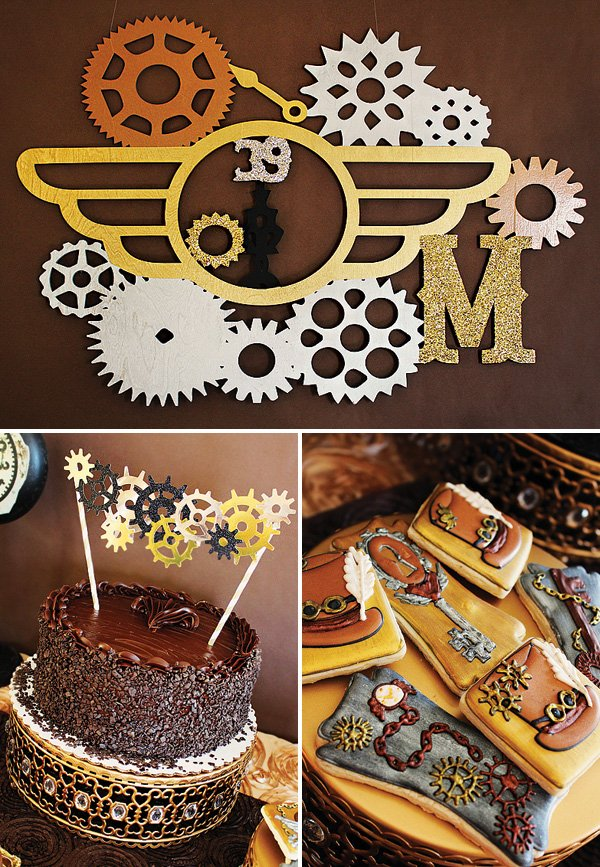 laser cut steampunk birthday party backdrop