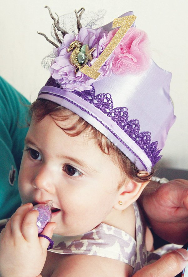 purple under the sea mermaid first birthday crown