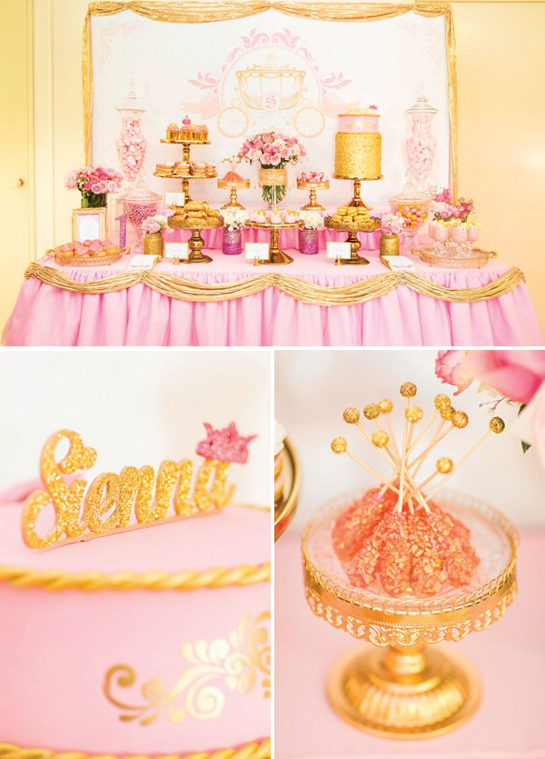 Royal Princess 1st Birthday Party Dessert Table Pink