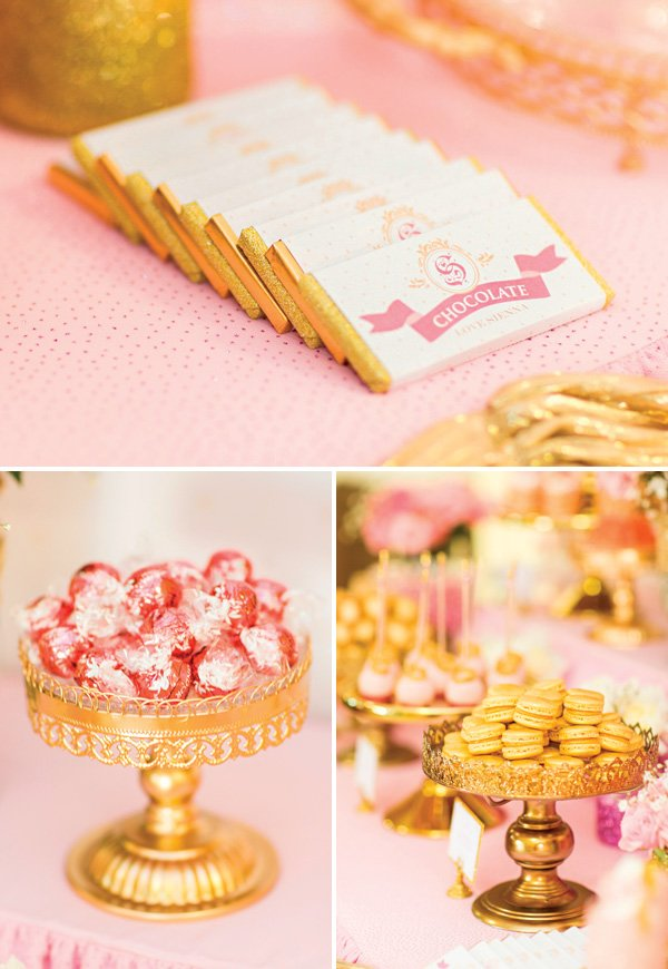 pink and gold royal birthday party snacks and desserts