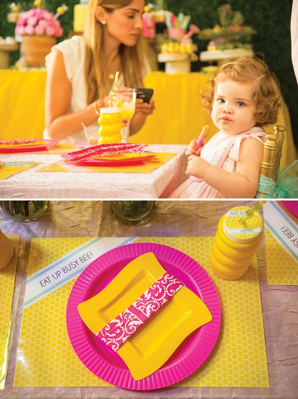 pink and yellow birthday party place settings