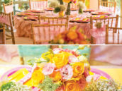 pink and yellow garden birthday party tablescape