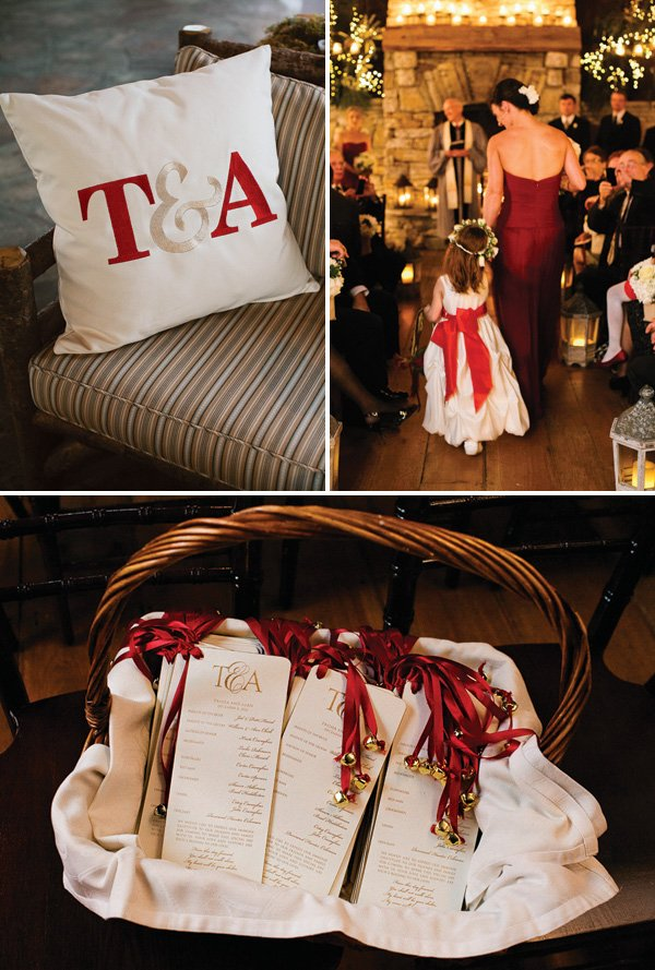red and gold color scheme for a christmas wedding
