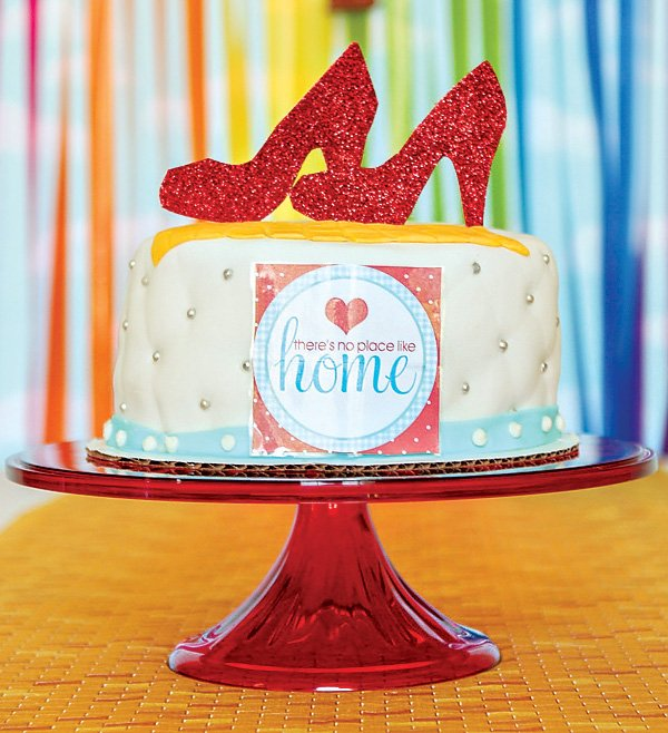 ruby red slippers topped cake