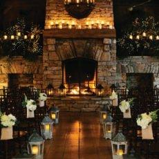 rustic woodland and fairy lights wedding ceremony