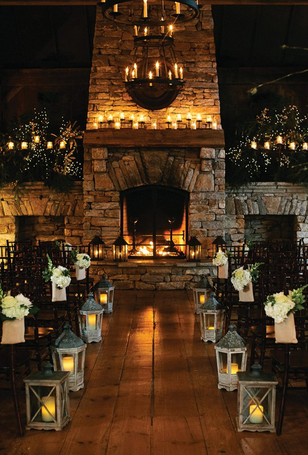 rustic woodland and fairy lights wedding ceremony