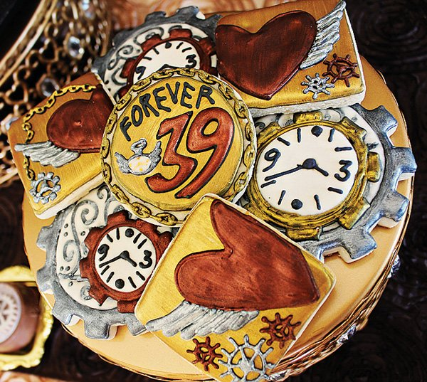 steampunk birthday party cookies