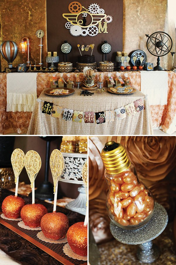 steampunk birthday party dessert table