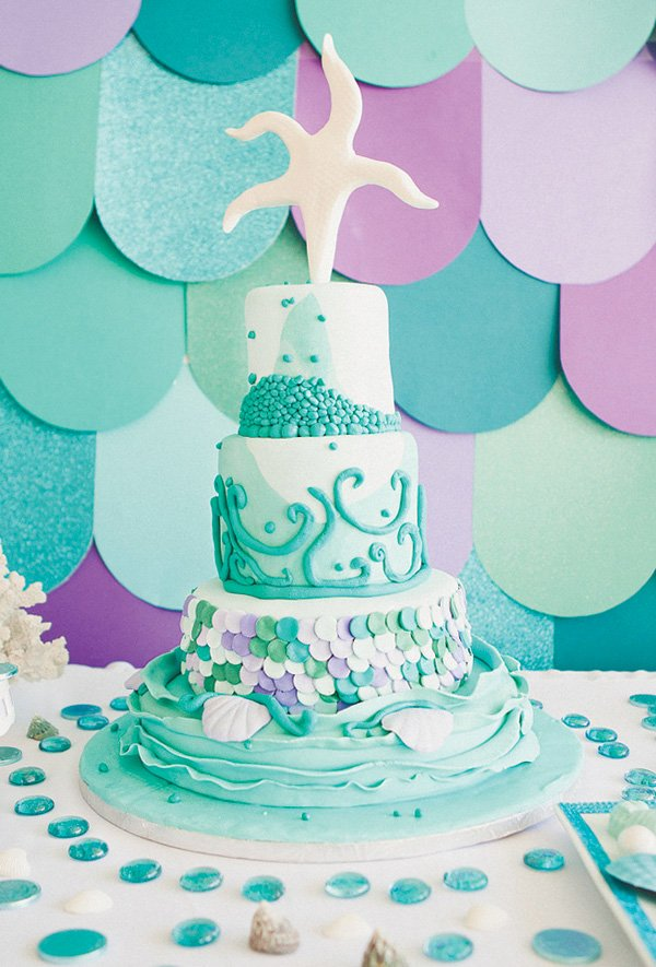 under the sea birthday party cake with a starfish topper