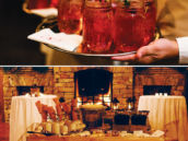 vintage christmas wedding drinks and ice cream trolley