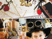 vintage steampunk birthday party photo booth props and costumes