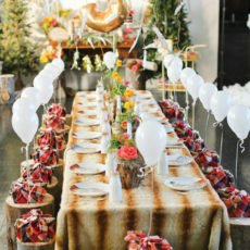 woodland 3rd birthday party tablescape decor
