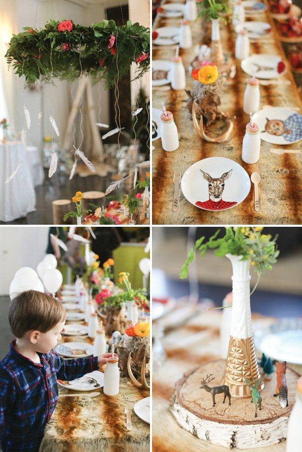 woodland animal tablescape centerpiece ideas