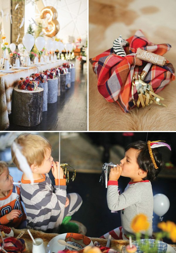 woodland party table favors