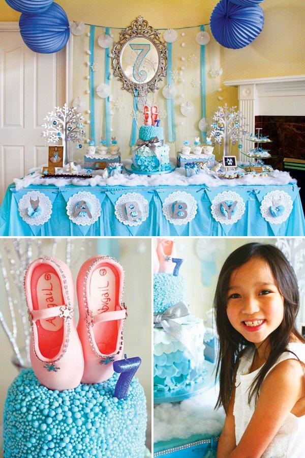 winter ballerina birthday dessert table