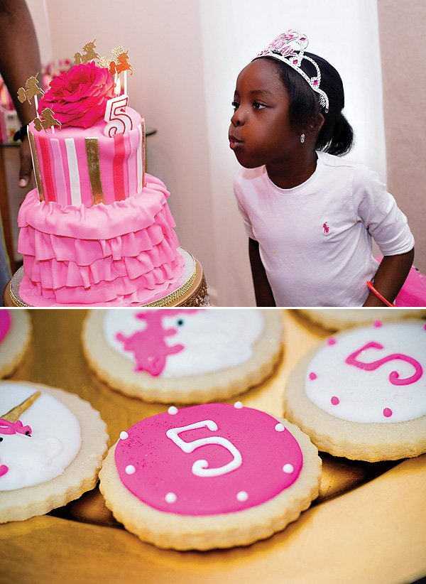 unicorn princess party birthday girl and sugar cookies