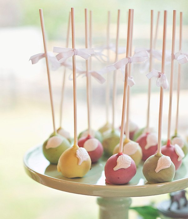 boho chic feather cake pops