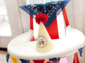 farm first birthday high chair and printable party hat