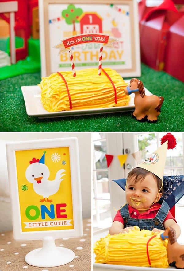 farm birthday hay bale smash cake