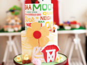 modern farm birthday party cake