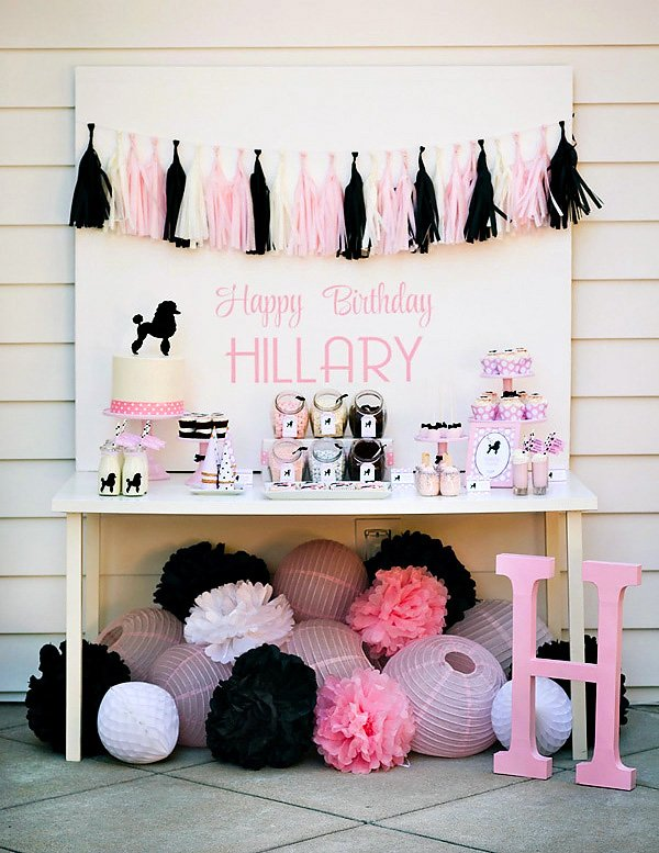poodle skirt party dessert table