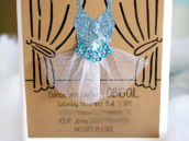 winter ballerina birthday invitation
