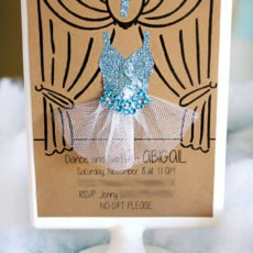 winter ballerina birthday invitation