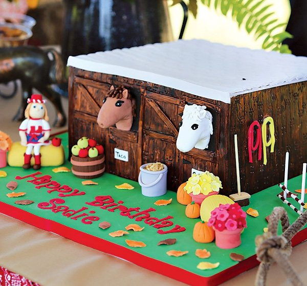 horse stable birthday cake
