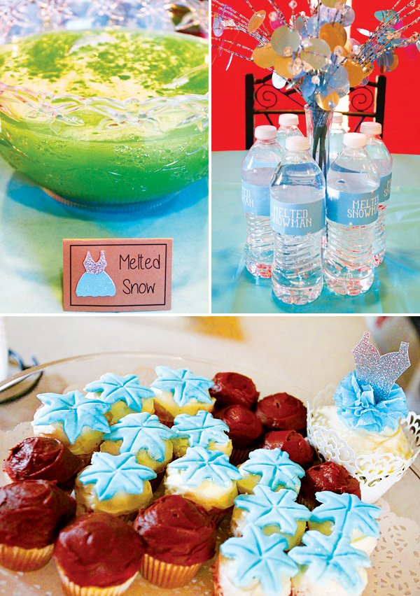 winter birthday party drinks and cupcakes