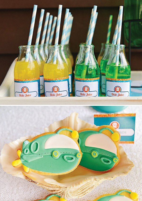 Octonauts party drinks and cookies