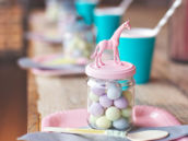 diy animal topped favor jars - pastel colors