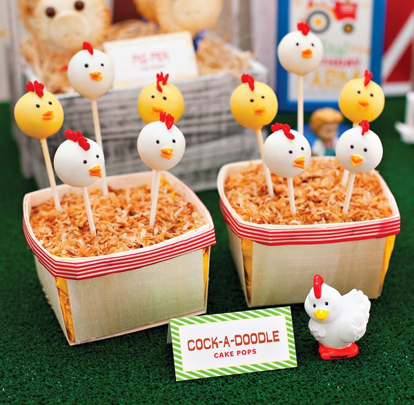 farm chicken cake pops