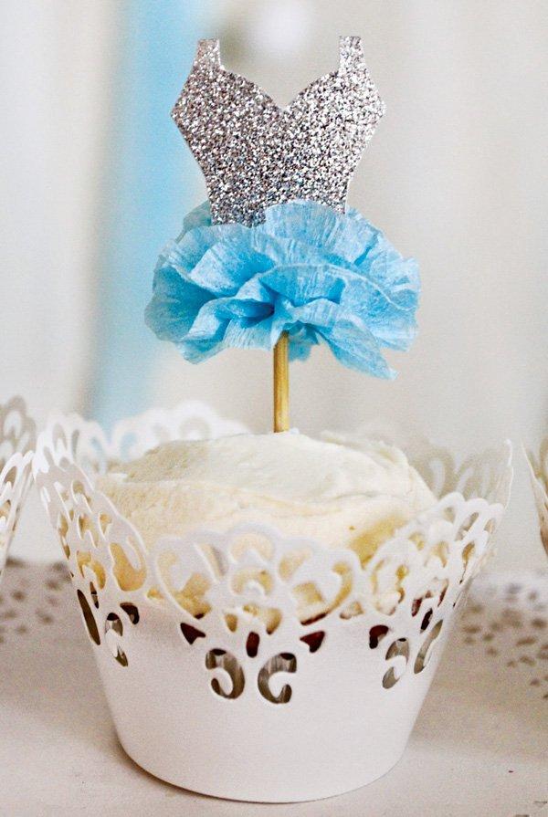 diy ballerina cupcake topper with sparkles