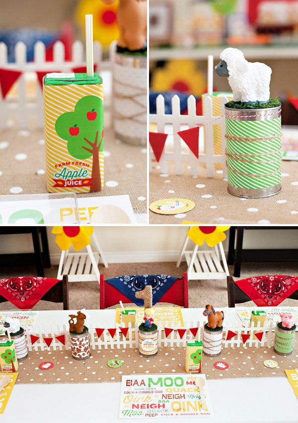 farm party kids table ideas