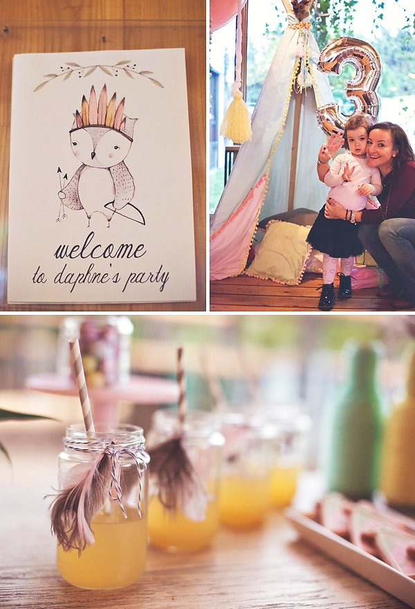 boho chic owl birthday party