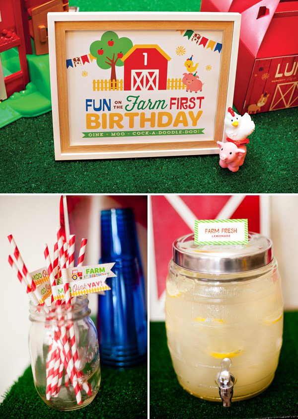farm party printables and drinks