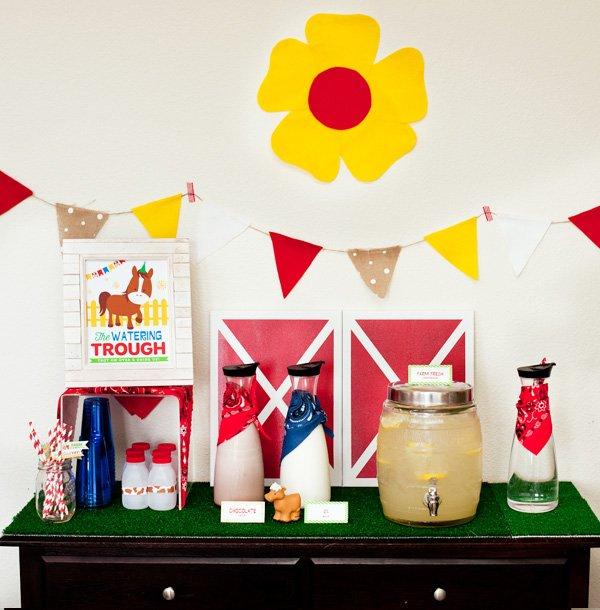 farm party drink station ideas