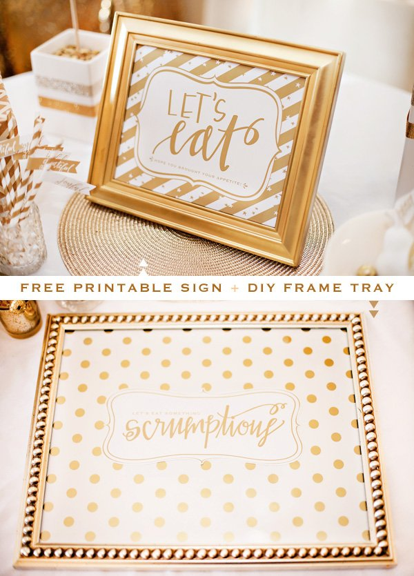 gold and white diy party tray
