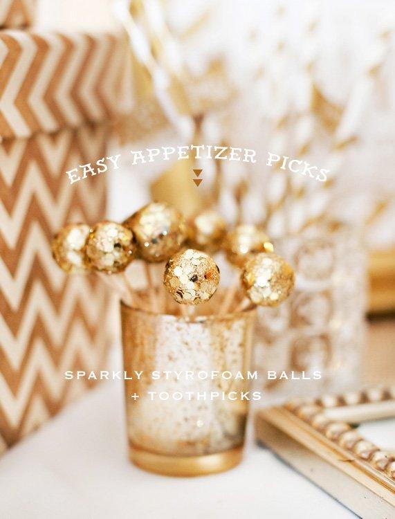 diy sparkly gold food picks