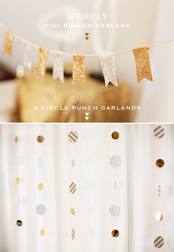 sparkly gold and white garlands