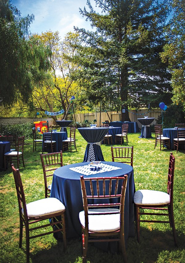 navy and white chevron party tables