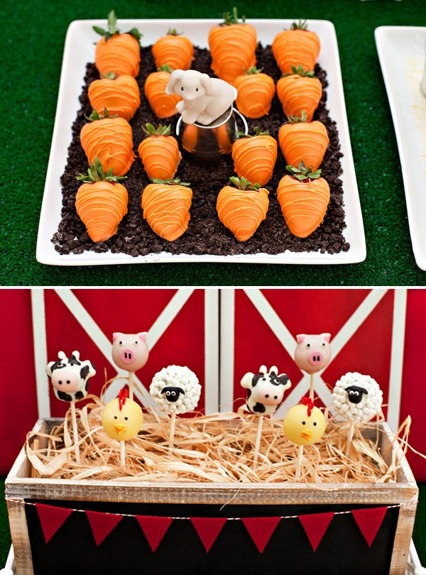 farm animal cake pops and strawberry carrots