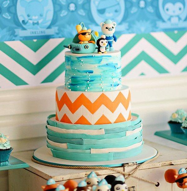 Octonauts party cake with chevron