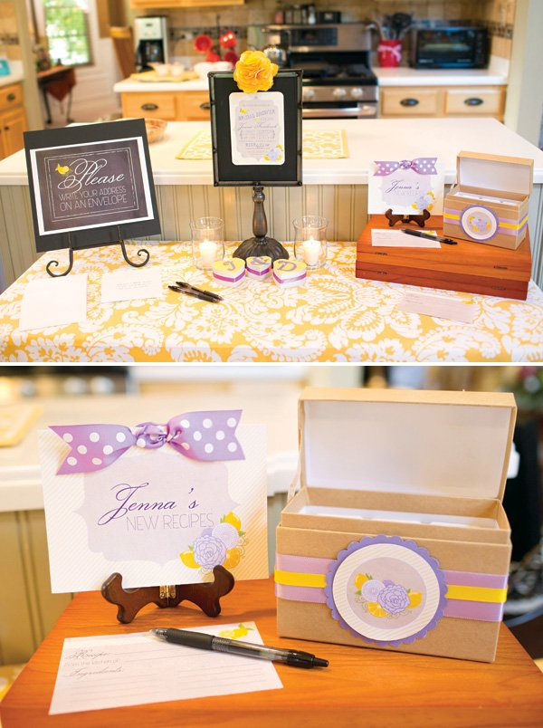 DIY bridal shower recipe box