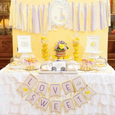 fresh spring bridal shower dessert table