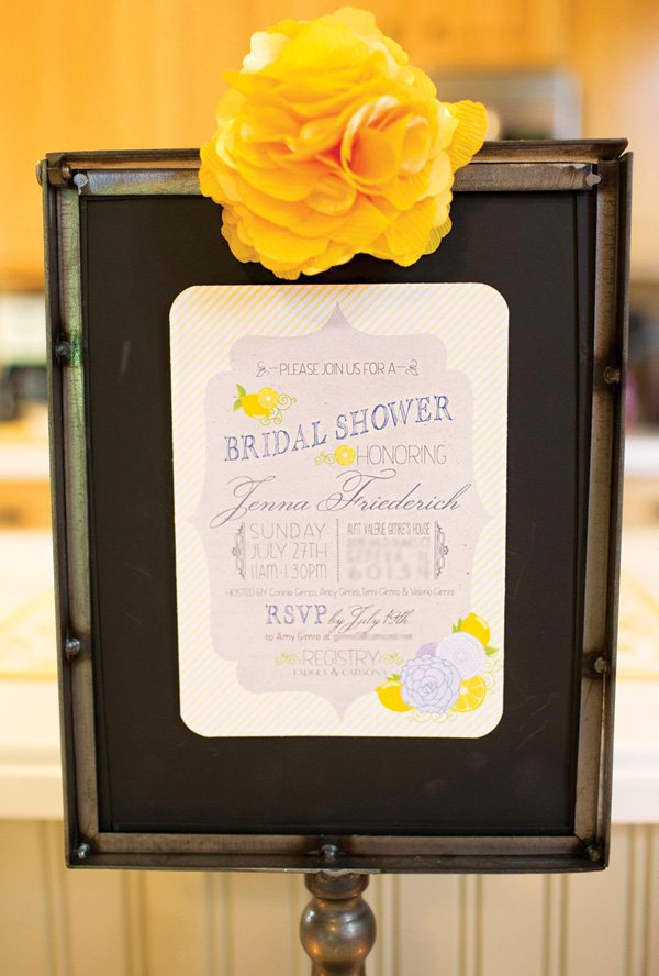 spring lemon bridal shower invitation