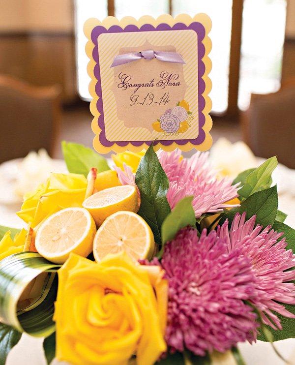 lemon decorated floral arrangements