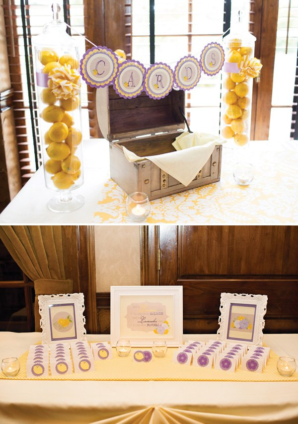 lavender and lemon decorated place cards