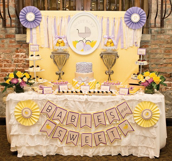 lemon and lavender baby shower dessert table