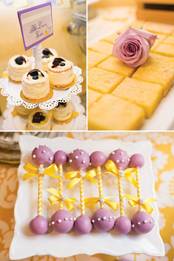 lemon and lavender bridal shower desserts